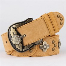 Lastest High Quality Rivet Leather Belt Process Manufacturing Women