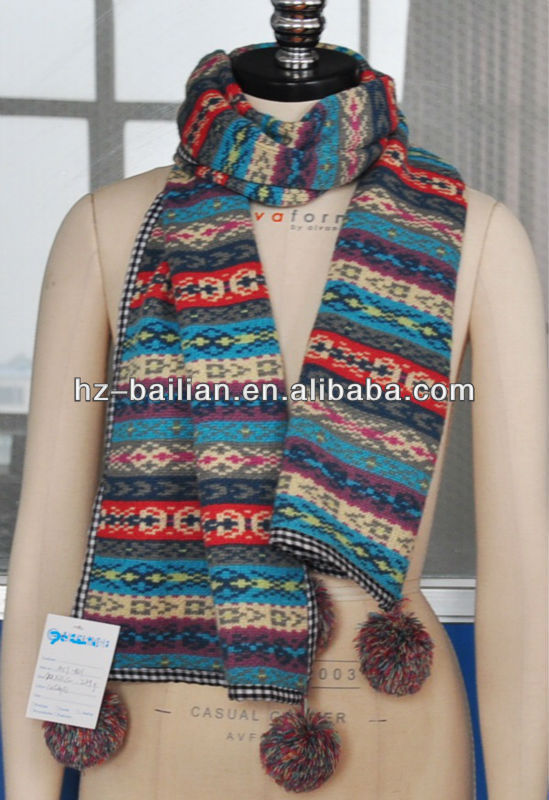 Colorful striped knitting scarf scarves decorated with pompon