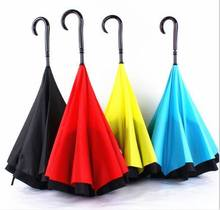 double layer inside out reverse umbrella with C shape