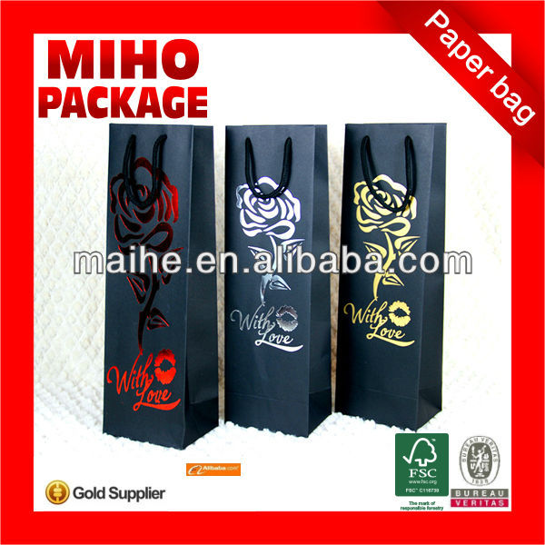 one bottle wine paper bag/wine packaging paper bags/promotion wine paper bags