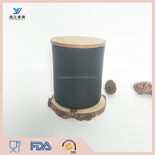 Hot sale External matte black Glass Votive Candle Holders with wooden lid