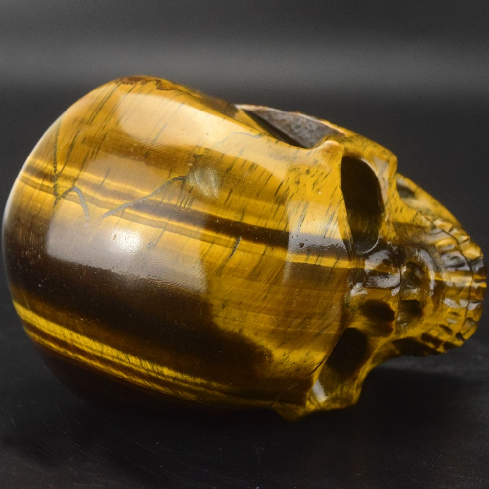 B1 design, 3 inch Tiger eye hand carved semi previous stone skull craft