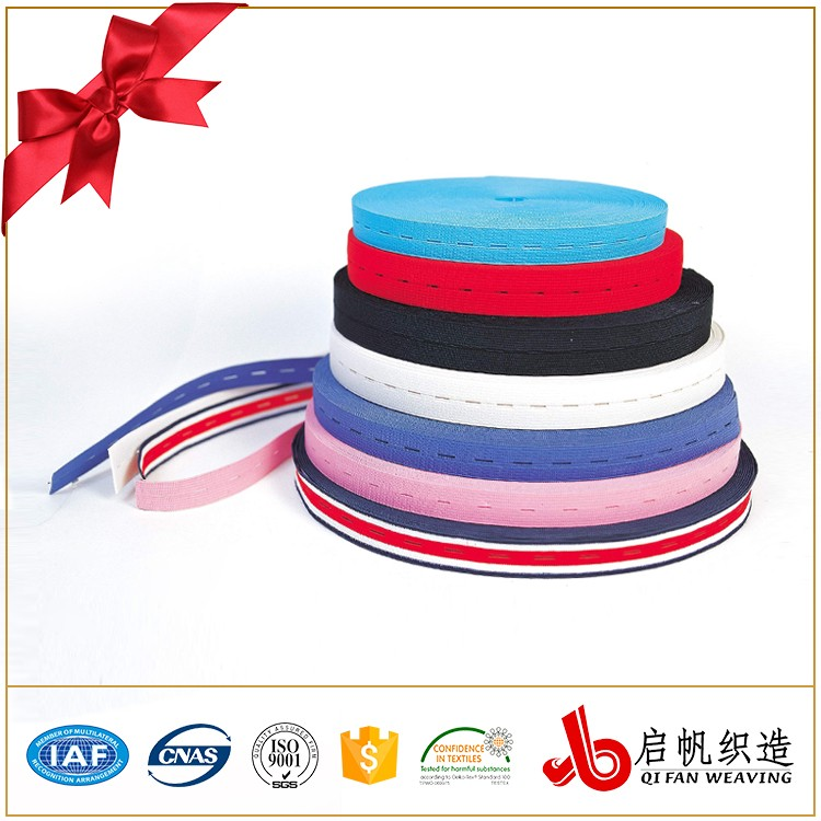 Custom rubber button hole elastic tape band for garment