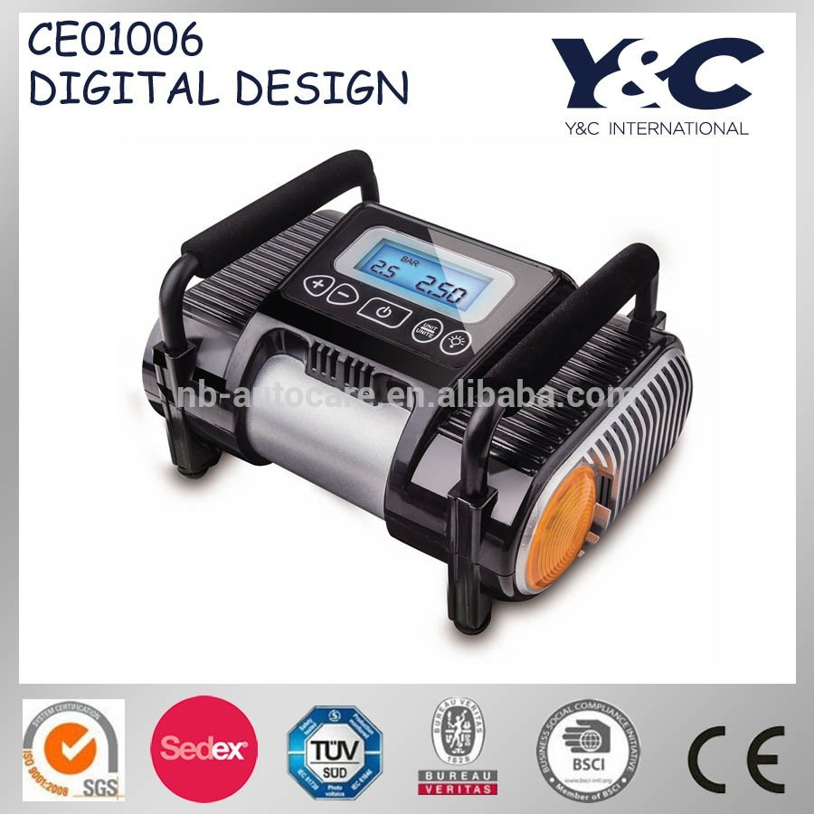high performance portable air pump/tire inflator/car 12V air compressor with digital display screen