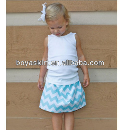 Hot sale!Child soft cotton clothes 2pcs cotton t-shirt with sky blue chevron skirt kids sets casual wearing clothing outfits
