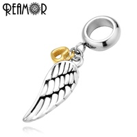 REAMOR 6mm 316l Stainless Steel Angel Wing Pendants Gold Heart Beads Charms For Bracelets Necklace DIY Jewelry Making Findings