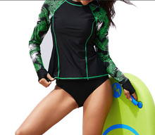 Tropical Leaf Women Long Sleeve Rash guard