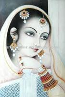 Handpainted Indian rajasthan lady painting oils on canvas