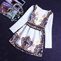 O-Neck knee-length long sleeve high quality women popular vintage dress