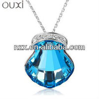 ouxi wholesale fashion jewelry gold necklace crystal shell shape pendant necklace 10163