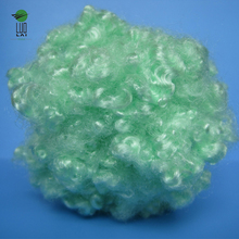 green 100% hollow conjugated siliconized polyester staple fiber for toys