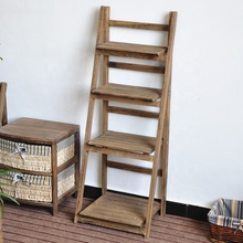4 Tier Folding Wooden Plant Stand Display Rack