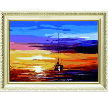 sea and sky tegother sunset scenery handmade wholesale diy oil painting art on canvas by numbers for home & garden 40*50cm a154