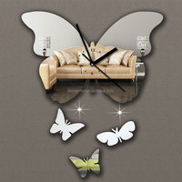 Guangzhou promotional clock 3d butterfly stickers mirror wall pictures