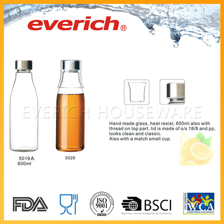 Rust-proof empty small camp drinking reusable glass bottles