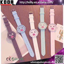 Cute Pig Face Soft Silicone Strap Cheap Promotion Singapore Movement Geneva Watch