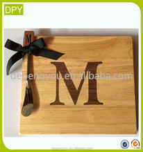 "Mud Pie Initial ""M"" Wood Cutting Board And Butter Knife Christam Gift Set"