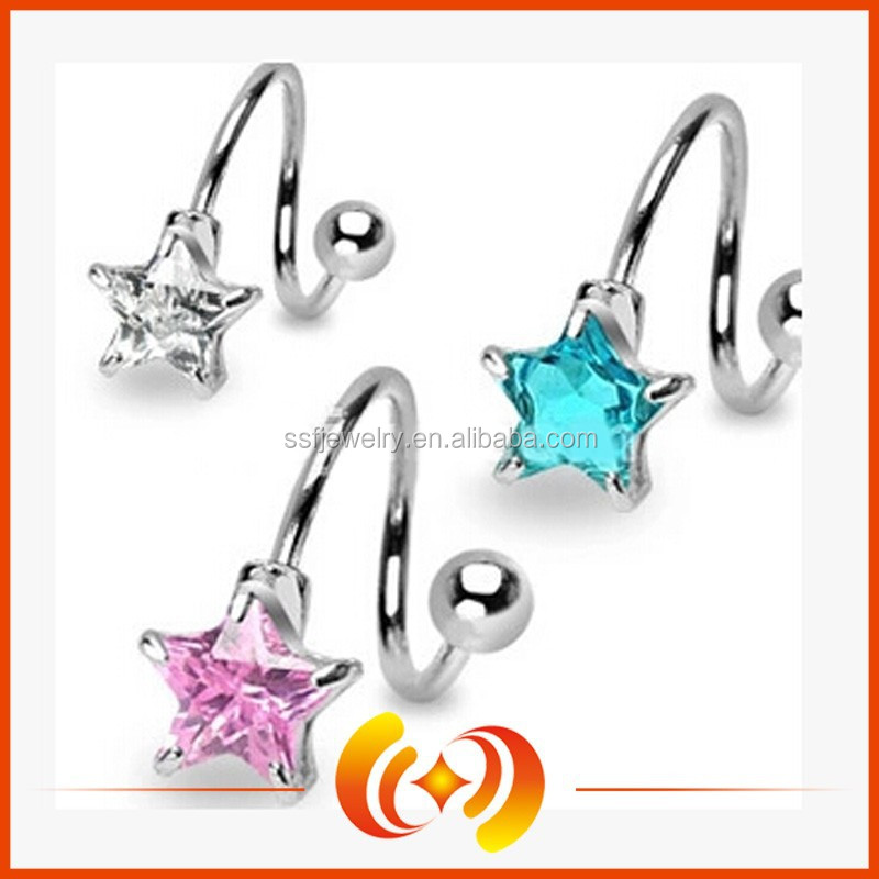 SSBD0101 New Design Twist Style Crystal Star Navel Belly Ring With Stainless Steel