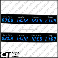 LED Digital Multi-time Zones International Time Wall Clocks