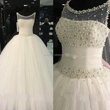 2017 Wedding Dress Bridal Gown with Peals O Neck Elegant Cheap Alibaba Wedding Dress kimjowd004