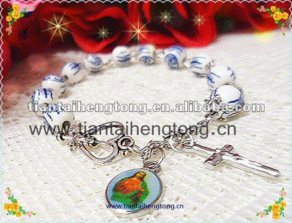 porcelain rosary bracelet,ceramic bead bracelet,blue and white china bead bracelet