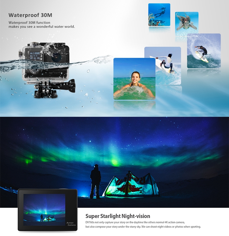 2017 Double screen underwater wifi real 4K video action camera