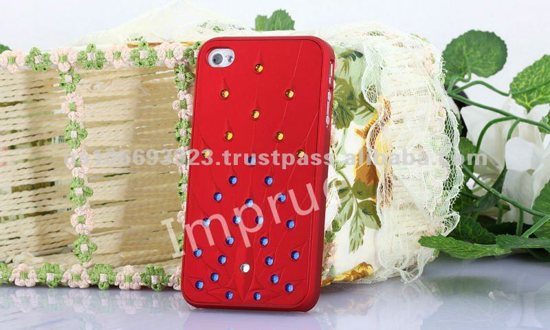 Chinese Red Bling Rhinestone Hard PC Mobile Phone Cover For iPhone 4S 4 G