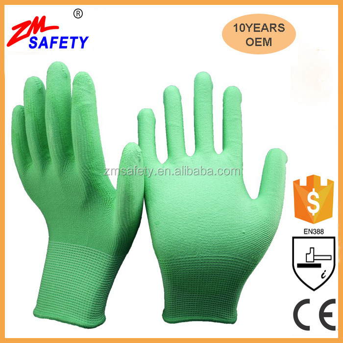 EN388 Certified Green Polyester Shell Green PU Dipped Glove for Mechanic Workplace Safety