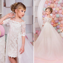 BL123A White Lace Girls Removable Dresses 2017 Ball Gown Belt Floor Length Girls First Communion Dress Party Dress
