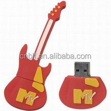 In stock fast delivery rubber guita shape super quality musical instrument usb flash drive
