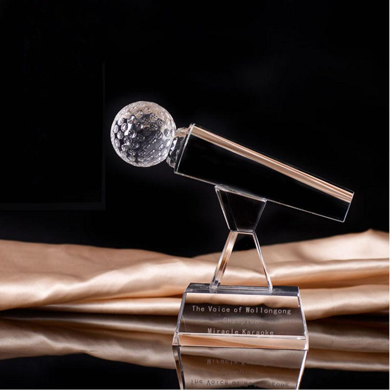 China Crystal Microphone Clear Crystal Souvenir Gifts Trophy