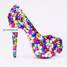 OW07 Fashion Wholesale Colorful High Heel Platform Women Shoes