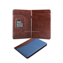 custom business PU leater A4 portfolio folder with calculator and notepad