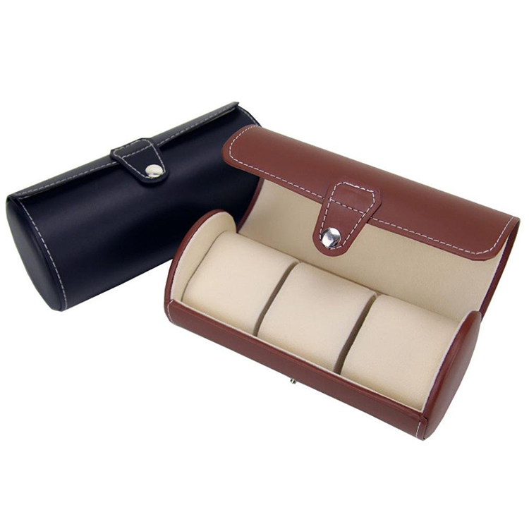 3 Grids Classic Round Shape Leather Travel Watch Case