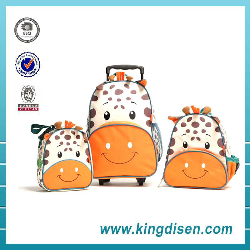 New products polyester trolley animal shaped backpacks with wheels