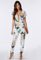 BS60005 CHINA WHOLESALE HOTTEST SEXY LADIES JUMPSUIT FLORAL PLUNGE JUMPSUIT WHITE