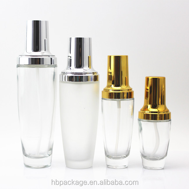 30ml/50ml/100ml/120ml clear cosmetic glass bottle lancome perfume essential oil with gold or silver spary pump 216-HBG
