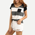Round neck short sleeve striped chest pocket raglan t shirt