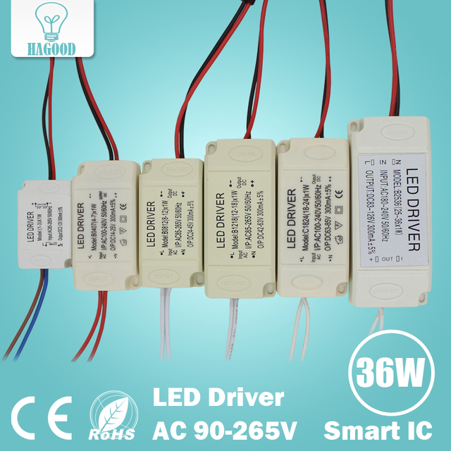 1-3W 4-7W 8-12W 12-18W 18-24W 25-36W Safe Plastic Shell LED driver LED light transformer power supply adapter for led lamp bulb