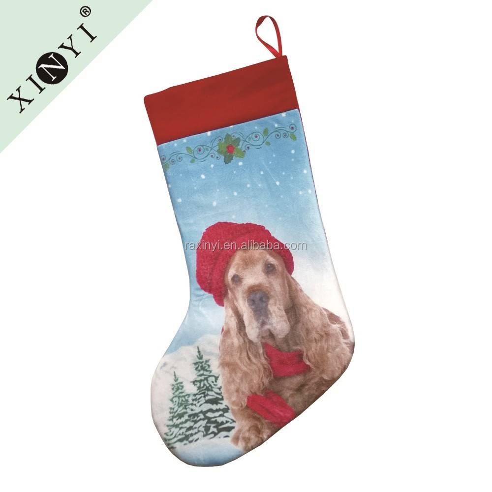 Best selling christmas indoor decorations high quality children gift christmas stocking custom dog print christmas sock