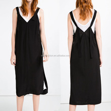 Latest fashion cutting design xxl size loose women casual one piece dress