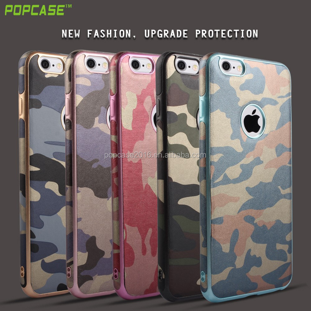 Hot sale flexible military color pu leather phone case for iphone6/6s