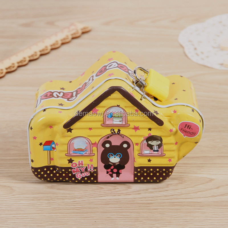 2016 new release chinese factory directly sale house shape kids metal tin piggy banks