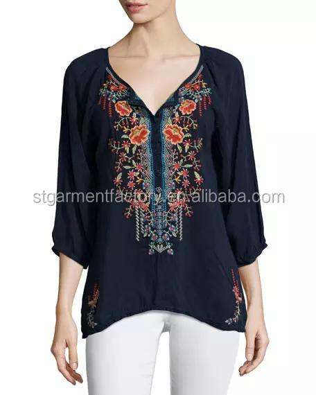 Beautiful Vintage Women Tops Half Sleeve Floral Embroidered Blouse Casual Clothing Sta-0035