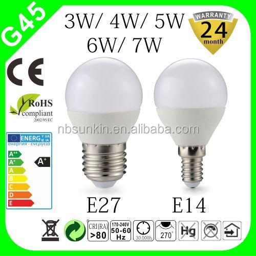 3w 4w 5w 6w 7w G45 bulb; Hot sales G45 bulb with 2 years warranty; E14/ E27 base CE RoHS certificate G45 LED bulb