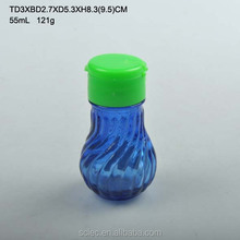 55ml glass embossed glass spice jar with plastic lid
