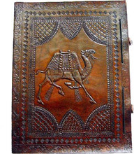 Handmade Leather Diary with Embossed Camel Pattern