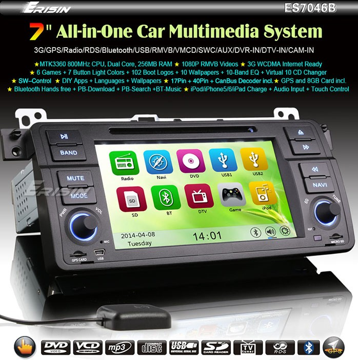 Erisin Es7046b 7 Quot Single Din Car Dvd Player Gps 3g Buy Car Dvd 3g Car Dvd Player Gps 1 Din Car