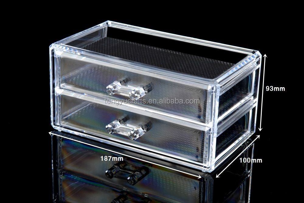Custom Cosmetic Organiser Acrylic Makeup case drawers box Jewelry storage clear cabinet with knobs