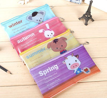 Hot sale printed colorful plastic pvc zipper pen packaging bag for kids stationery